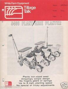 Farm Implement Brochure White 5400 Plant Aire Planter 1975