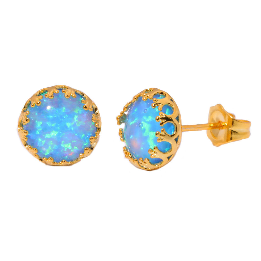 Opal Stud Earrings White Gold