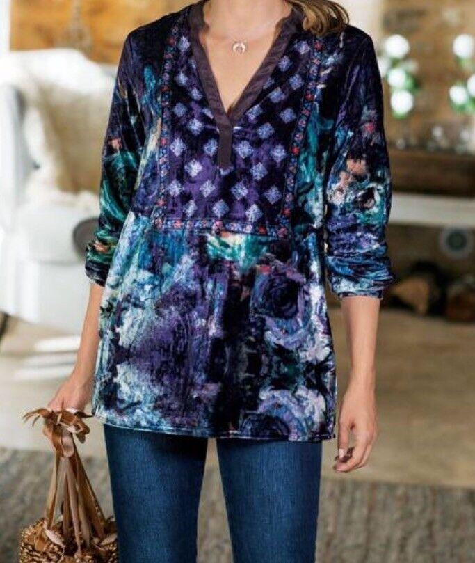 Soft Surroundings Velvet Tunic Sz Groß Blau Floral Popover V Neck Blouse oben
