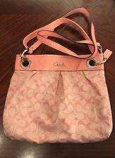 Coach Ashley Signature Pink/Patent Leather Trim Shoulder Bag F17599