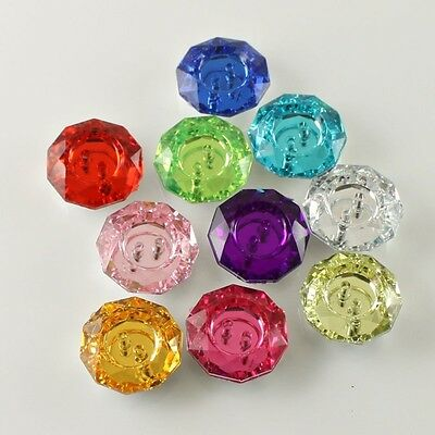 100PC Candy Color Acrylic Rhinestone Like Button Embellishment Sewing Craft 18mm