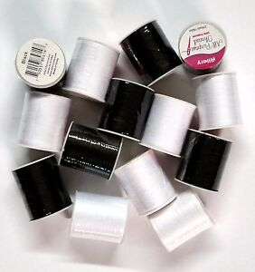 14 Spools Sewing Thread Polyester BLACK & WHITE 200 yards each Spool - NEW