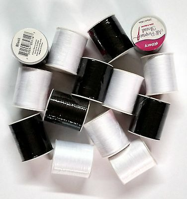 NEW 15 Spools Sewing Thread Polyester BLACK /& WHITE 200 yards each Spool