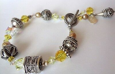 Signed Tres Jolie 925 Sterling Bali Bead Swarovski And Pearl Bracelet 31.7g Wow Cheap Sales 50% Fine Jewelry Precious Metal Without Stones