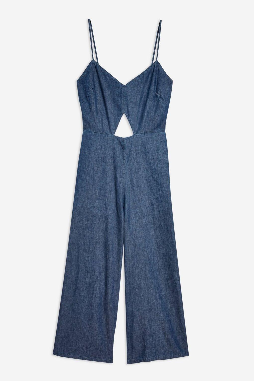 TOPSHOP JUMPSUIT  Light Denim blueE Cut Out Wide Leg 1940s Landgirl  Sz 12 NEW