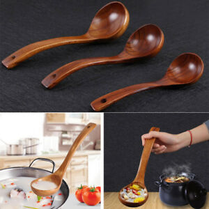 Details About Home Kitchen Soup Spoon Tableware Brown Wooden Soup Ladle Large New