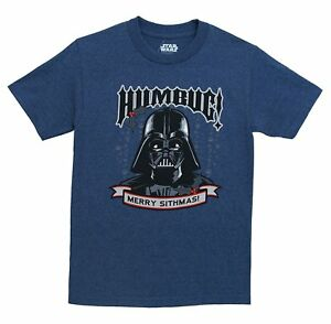 Star-Wars-Darth-Vader-Humbug-Christmas-Navy-Heather-Men-039-s-T-Shirt-New