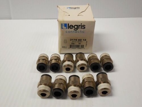 """LOT OF 11 LEGRIS PUSH CONNECT TUBE CONNECTOR 3175-60-18 31756018 3//8/""""OD 3//8/""""NPT"""