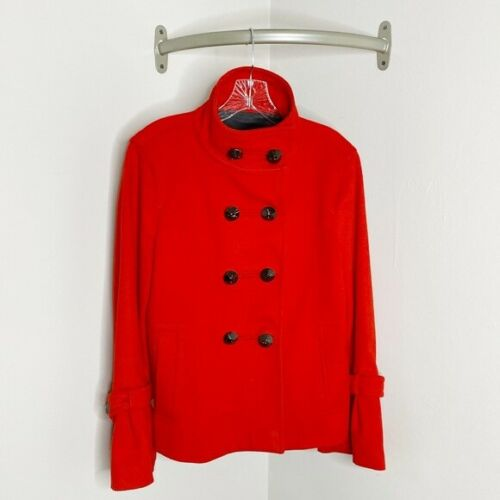 Zara Woman Military High Collar Wool Coat Red L
