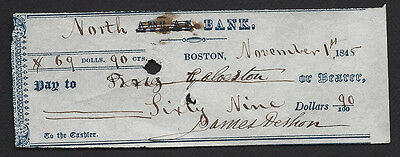 NORTH (FORMERLY ATLAS) BANK=BOSTON,MA=PRE-CIVIL WAR=CHECK=FISCAL RELIC=1845