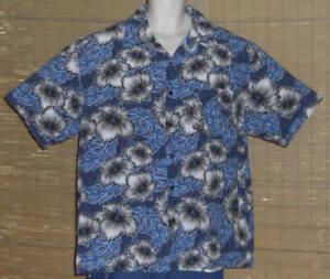 Gotcha-Hawaiian-Shirt-Blue-Gray-White-Black-Flowers-Leaves-Size-XL