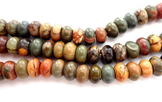 4x8mm Natural  Picasso Jasper Rondelle Gemstone Beads - Half Strand