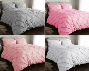PINTUCK-BEDDING-DUVET-COVER-SET-DOUBLE-KING-SILVER-PINK-QUILT-COVERS-PILLOW-CASE