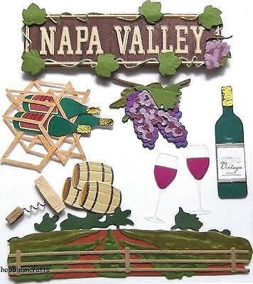 EK SUCCESS JOLEE'S BOUTIQUE 3-D STICKERS - WINE GRAPES VINEYARD -  NAPA VALLEY
