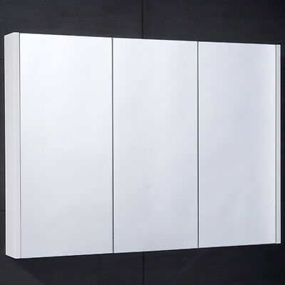 Mirrored Bathroom Cabinet Wall Mounted Hung 3 Door Shelves Triple Glass 900mm