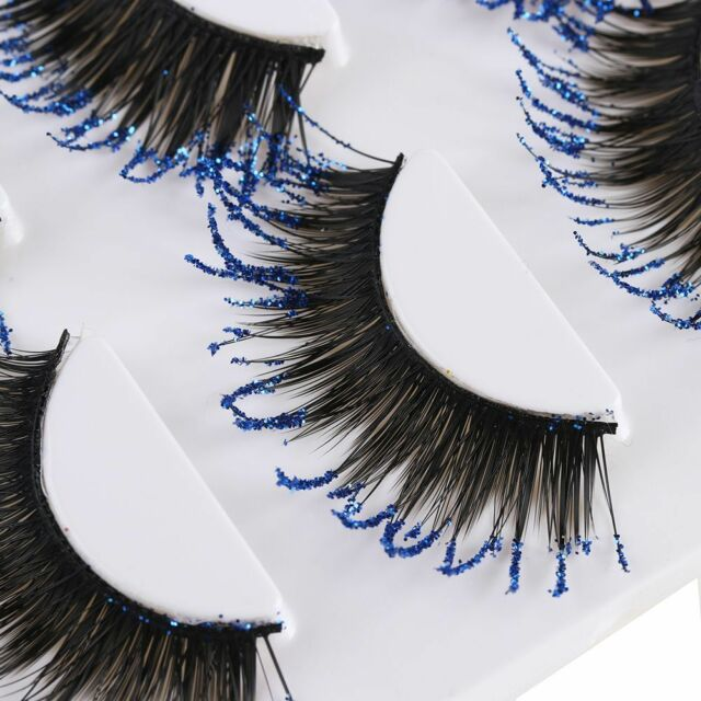 Stage Use Blue Glitter False Eyelashes 3 Pairs Thick Long Lashes