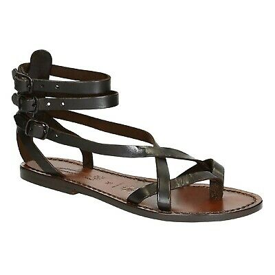 Handmade women's slave sandals in dark brown leather Made in Italy | eBay