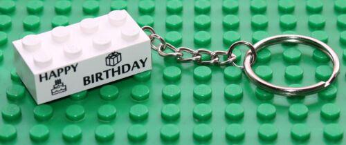 Lego Brique Blanc Imprimé Personnalisé 2x4 trousseau joyeux anniversaire nouveau!!!!