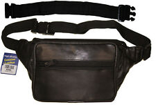 "Leather Fanny Pack Waist Belt Bag Travel Pouch with 18"" Long Extension Belt"