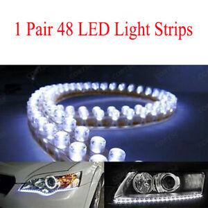 2x-48-LED-Luz-Tira-Bar-50cm-20-034-Blanco-Impermeable-Lampara-de-circulacion-diurna-DRL-Niebla