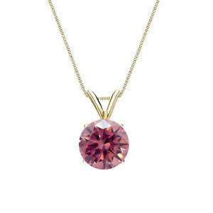 Diamant-Anhaenger-Solitaer-0-25-Karat-Pink-585-14K-Gelb-Weiss-oder-Rosegold