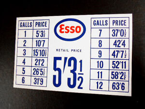 Details about Red and Blue Vintage Style Petrol Pump Price List Sticker Esso