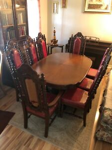 Details About Asian Rosewood Dining Room Set Table Eight Chairs Two Leaves Pad