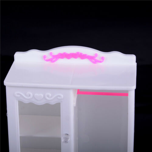Furniture Plastic White Wardrobe Closet Doll Accessories Toys Gift ES