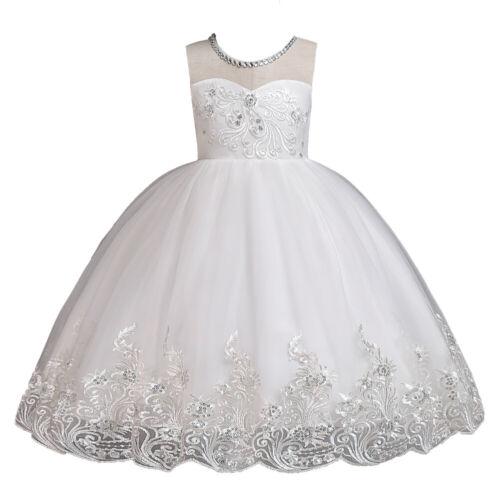 Summer Kids Girls Flower Princess TuTu Dress Sleeveless Wedding Party Ball Gown