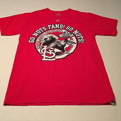 Men's Majestic St Louis Cardinals Rally Squirrel Postseason 2011 T-Shirt Size S