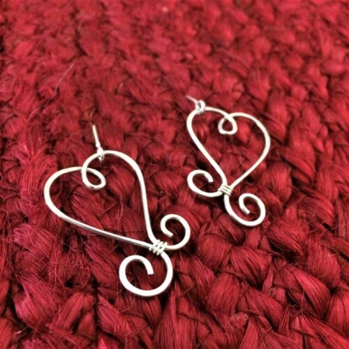 .935 HANDMADE Sterling Silver Heart Scroll Earrings Tarnish Resistant