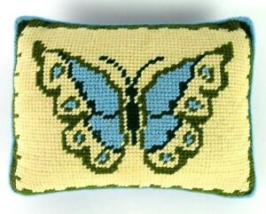 Vtg-Butterfly-Pillow-Throw-Cushion-Sofa-Chair-Knit-amp-Blue-Corduroy-Decor-10-x-13