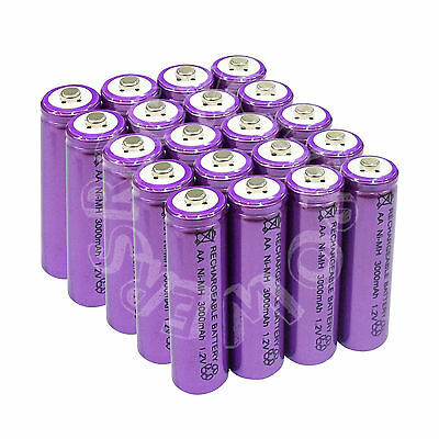 20 x AA LR6 UM3 3000mAh Ni-MH Rechargeable Battery Purple Cell 2A