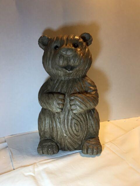 Ceramic Wood Look Bear Statue Garden Patio Lawn Porch Outdoor Decor Gifts