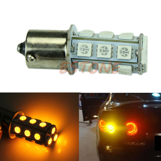 Car 12V 1156 BA15S P21W 1129 18-LED Yellow Tail Rear Turn Signal Light Bulb Lamp