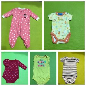 Lot Of 5 Pre Owned Assorted Baby Girl Infant Dresses Ages New Born To 3 Months