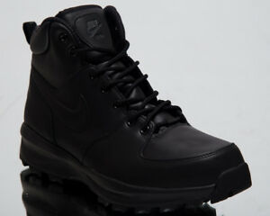 0649ce8386 Nike Manoa Leather New Men Sneakers Black High Top Lifestyle Shoes ...