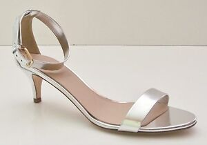J Crew Mirror Metallic Kitten-Heel Sandals - 6.5 - Silver | eBay