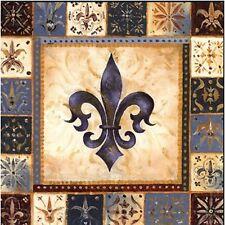 FLEUR DE LIS BROWN BLUE PATCHWORK  DESIGN    SET OF 4 RUBBER BACKED COASTERS