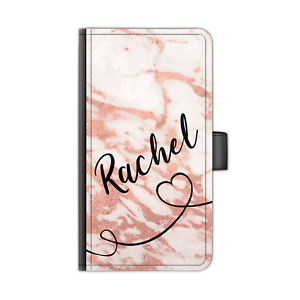 PERSONALISED-NAME-LEATHER-PHONE-CASE-BLACK-HEART-LINE-PEACH-MARBLE-FLIP-COVER