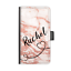 PERSONALISED-NAME-LEATHER-PHONE-CASE-BLACK-HEART-LINE-PEACH-MARBLE-FLIP-COVER thumbnail 1