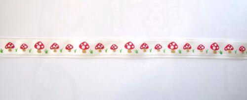 5 metres ruban CHAMPIGNONS  rouge sur blanc   ref 1852