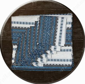 Blue-Ukrainian-TABLECLOTH-6-NAPKINS-Woven-Embroidery-DIFFERENT-SIZES-Fine-gift