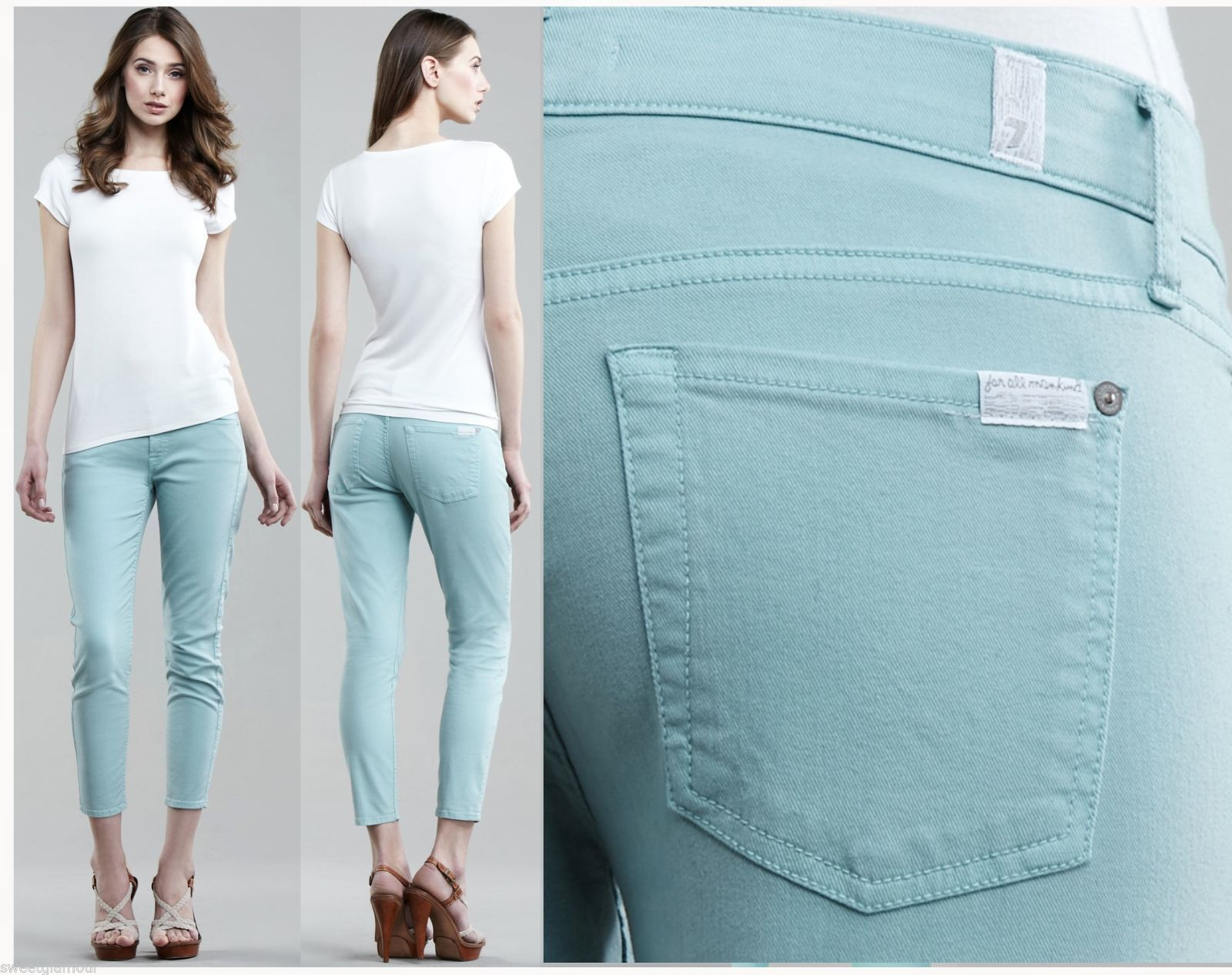 169 7 For All Mankind The Cropped Skinny Light Washed Aqua Wash Twill  Jeans