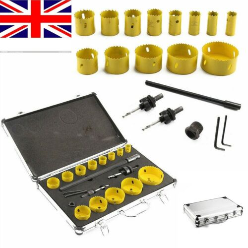 NEW 17Pcs M42 Bi-Metal Hole Saw Kit Cutter Set for Wood Aluminum Pipe Plastic UK