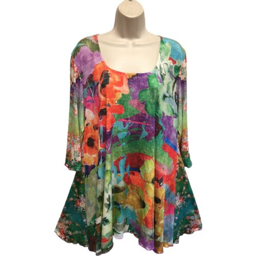 AMMA Colorful Floral Gorgeous Knit High Low Tunic Top 2X Fits XL Bust 44 Inches