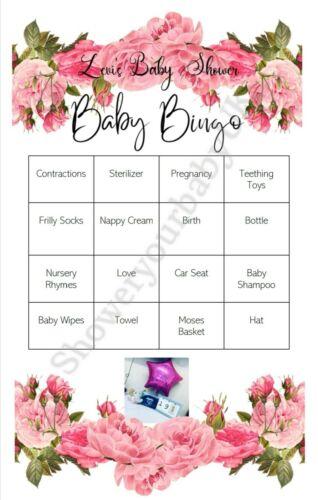 Baby Shower Game Girl Baby Bingo Personalised 10 pack