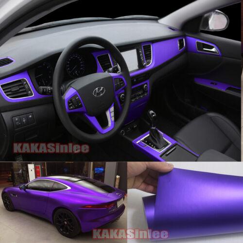 """12/"""" x 60/"""" Cool Car Wrap Metallic Satin Matte Chrome Vinyl Sticker Film Purple HD"""