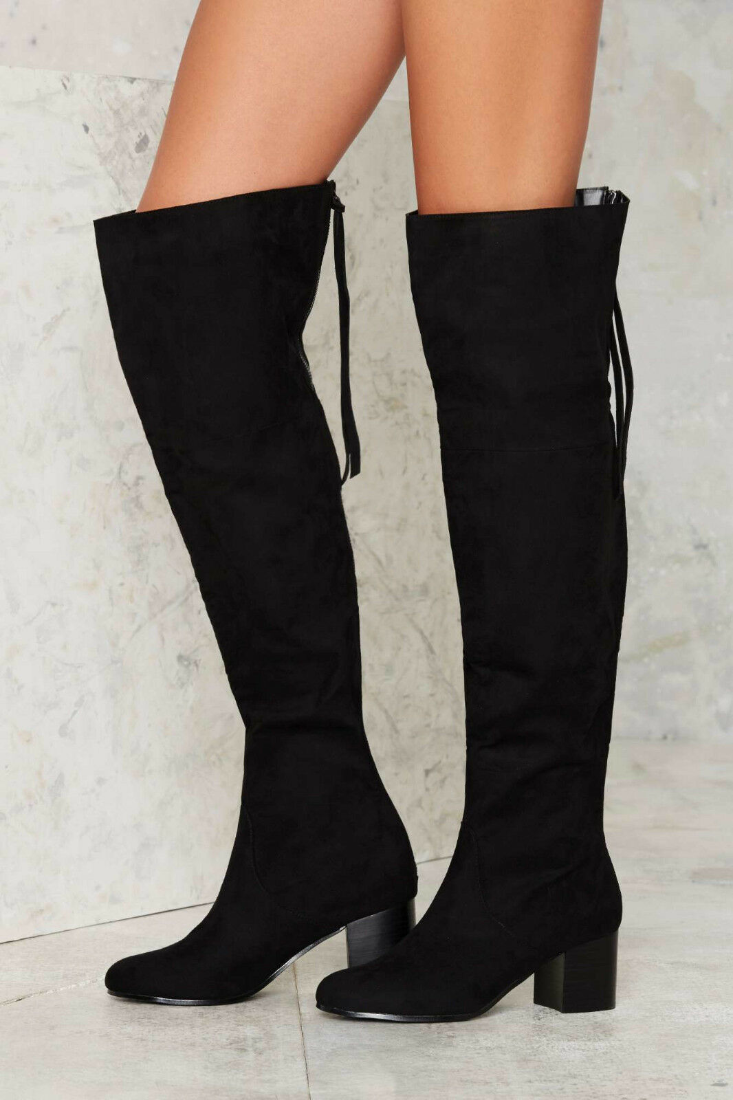 NEU NASTY GAL BLACK OVER THE KNEE ZIP IT UP BOOTS Schuhe SZ 6.5