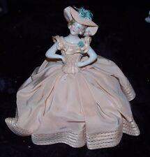 RARE EXQUISITE Antique Porcelain HALF DOLL German Peach Silk Dress Cushion MINT